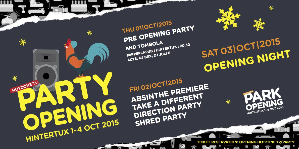 Hotzone Parkopening Hintertux - Partyflyer Front