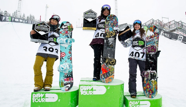 DEW Tour 2015 - Women Superpipe Podium