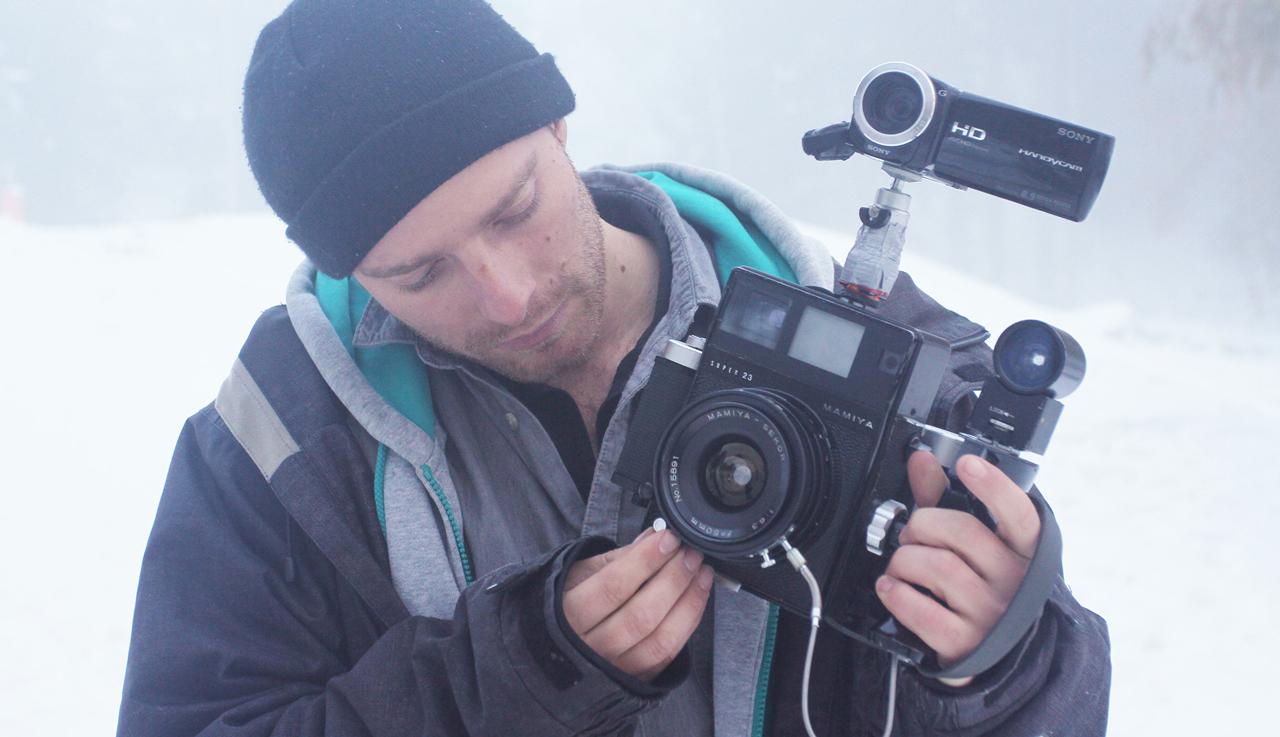Jerome mit seinem speziellen Kamera-Set-up, mit dem er diesen Film gemacht hat