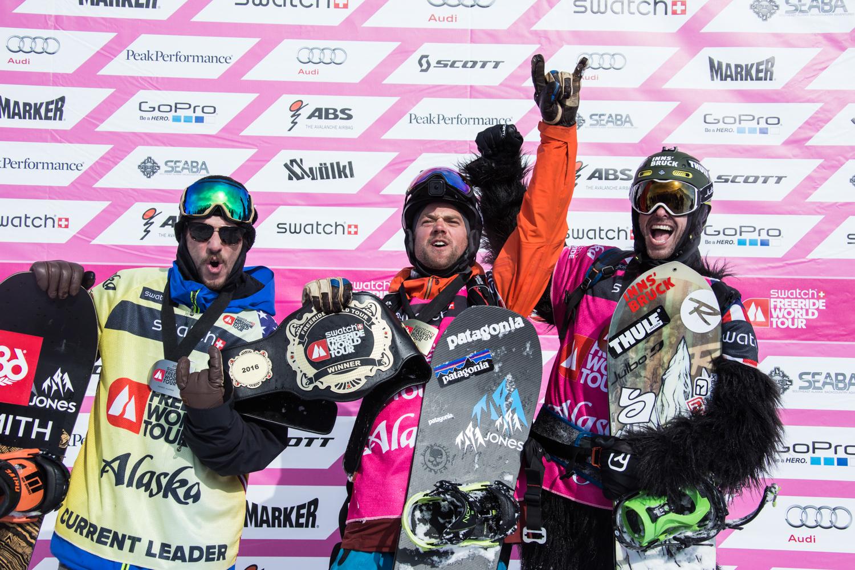 Die Top 3 der Männer: Ralph Backstrom, Sammy Luebke und Jonathan Penfield - Foto: D.Daher / freerideworldtour.com