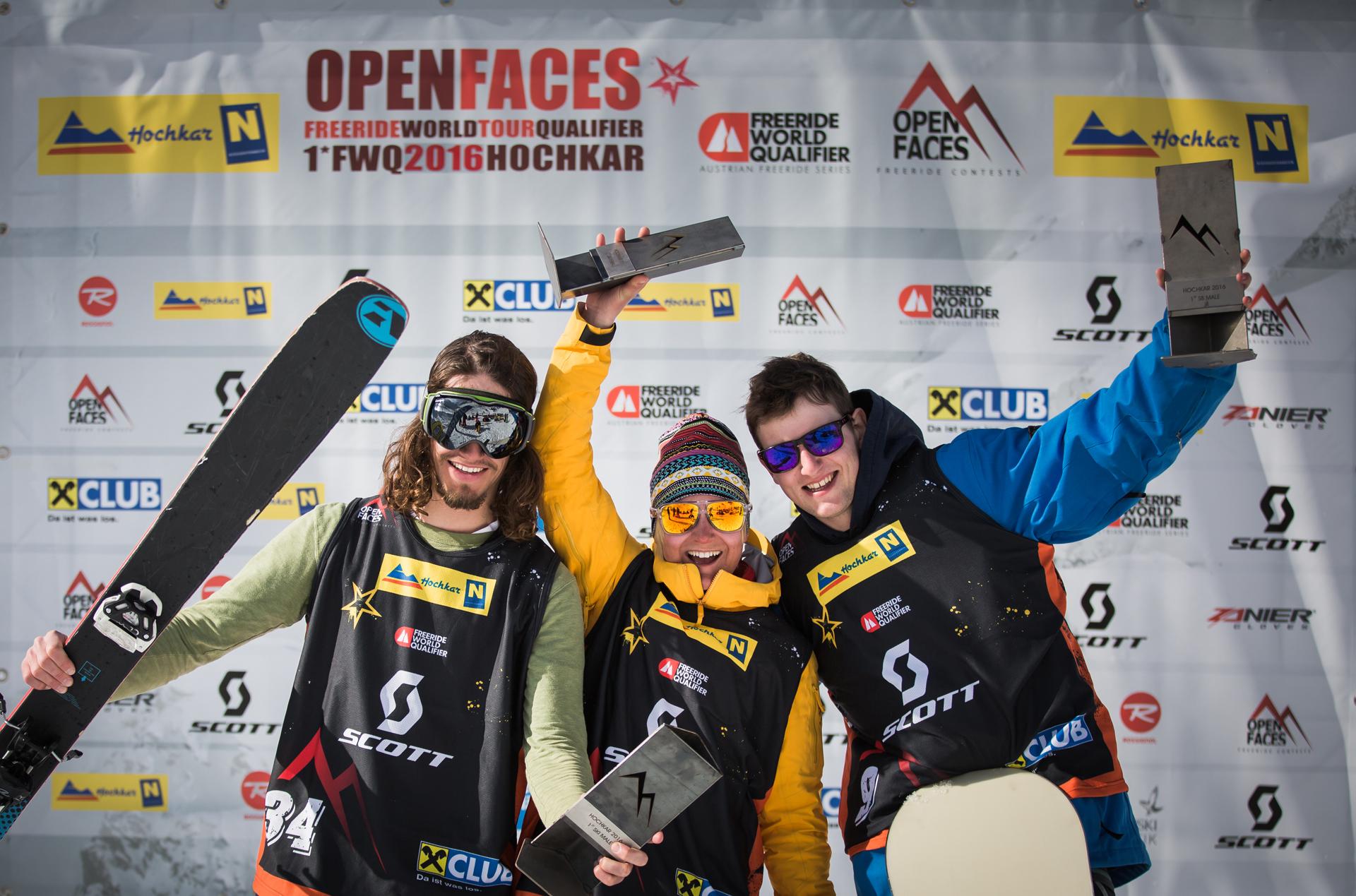 Open Faces Hochkar 2016 - Rechts außen der Sieder bei den Snowboard Männern: Otto Greither - Foto: M. Knoll