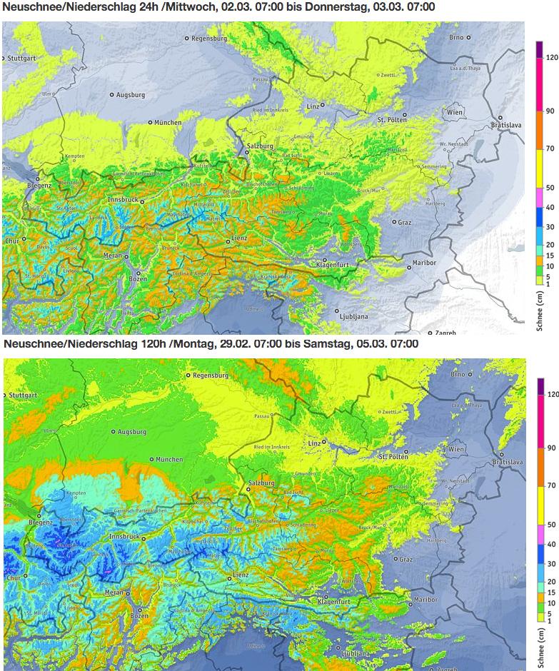 Schneevorhersage für Österreich - Oben: Morgen, 2. März 2016 / Unten: Kummulierte Menge von Montag bis Samstagmorgen, 7 Uhr - Quelle: ZAMG/bergfex