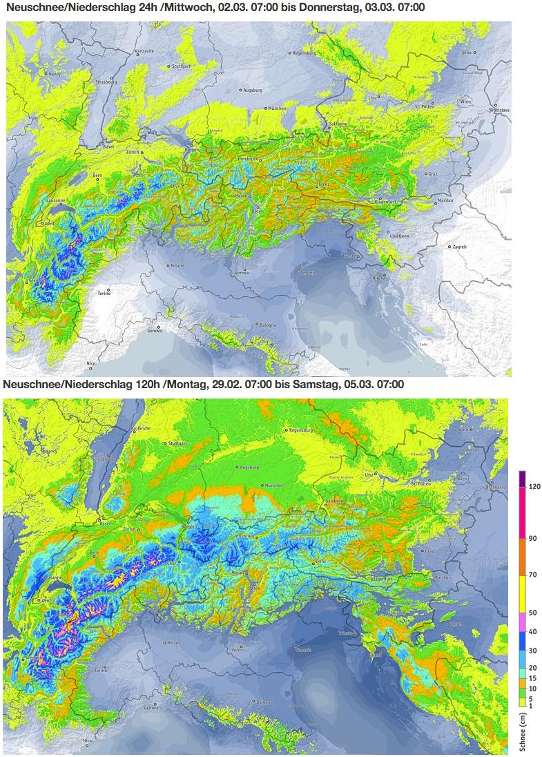Schneevorhersage für Bayern - Oben: Morgen, 2. März 2016 / Unten: Kummulierte Menge von Montag bis Samstagmorgen, 7 Uhr - Quelle: ZAMG/bergfex