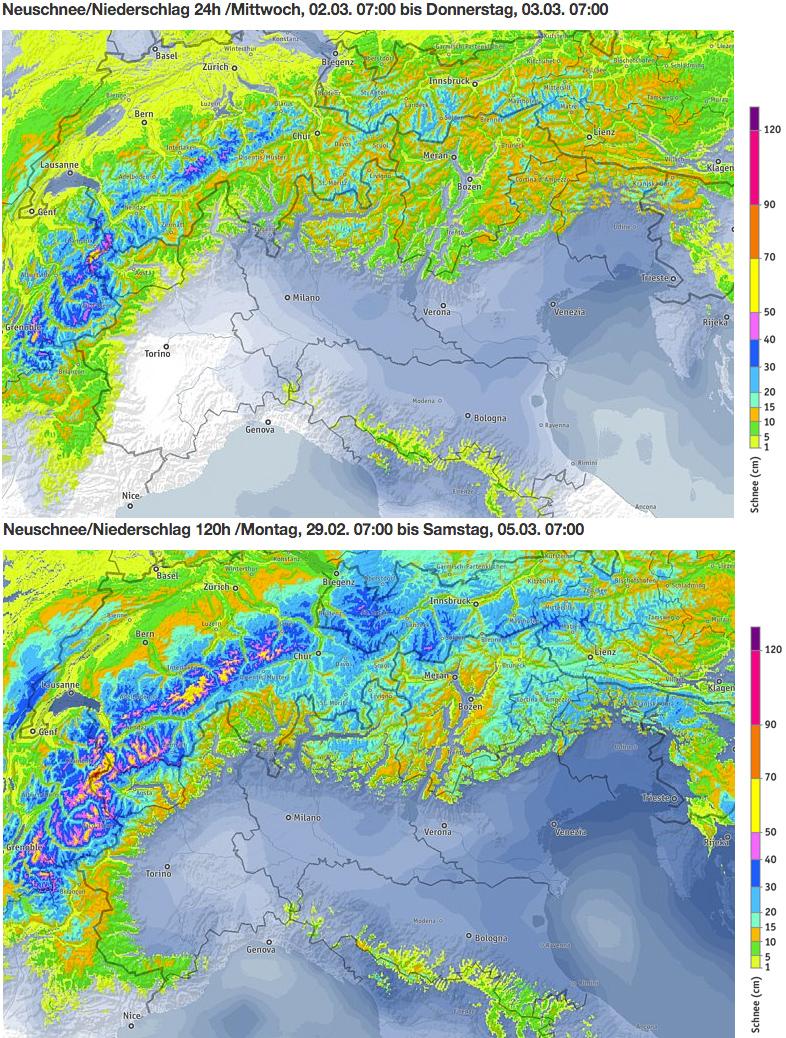Schneevorhersage für die Italien - Oben: Morgen, 2. März 2016 / Unten: Kummulierte Menge von Montag bis Samstagmorgen, 7 Uhr - Quelle: ZAMG/bergfex