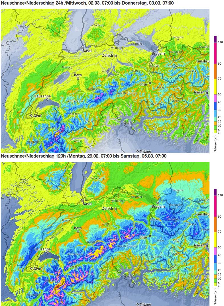 Schneevorhersage für die Schweiz - Oben: Morgen, 2. März 2016 / Unten: Kummulierte Menge von Montag bis Samstagmorgen, 7 Uhr - Quelle: ZAMG/bergfex