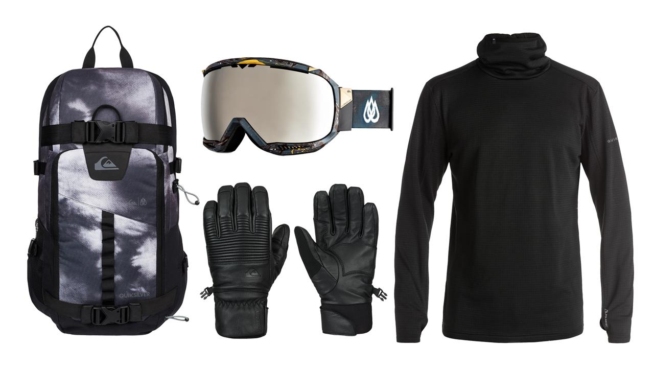 Die passenden Accessories mit Rucksack, Handschuhen, Goggle und 2nd Layer gibt's natürlich auch dazu