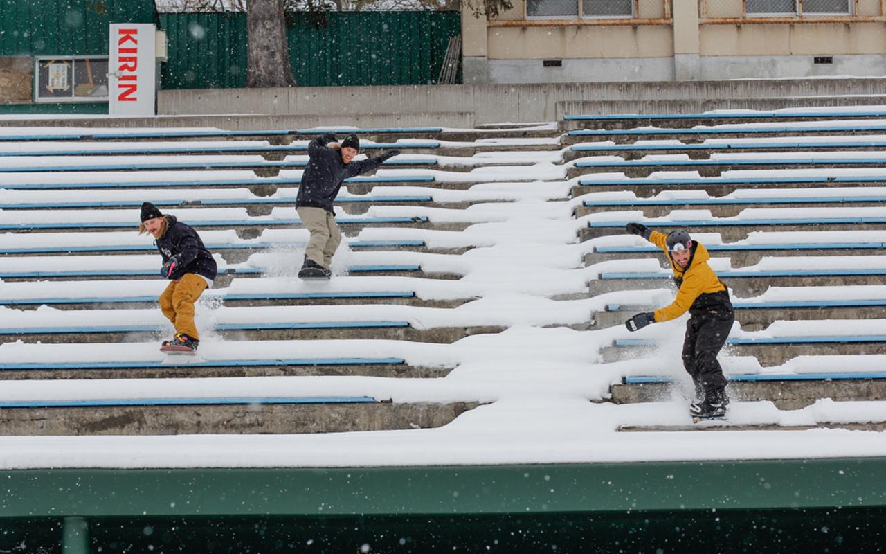 Halldor, Sage und Max beim Stairset-Partyboarden | © Joe Carlino