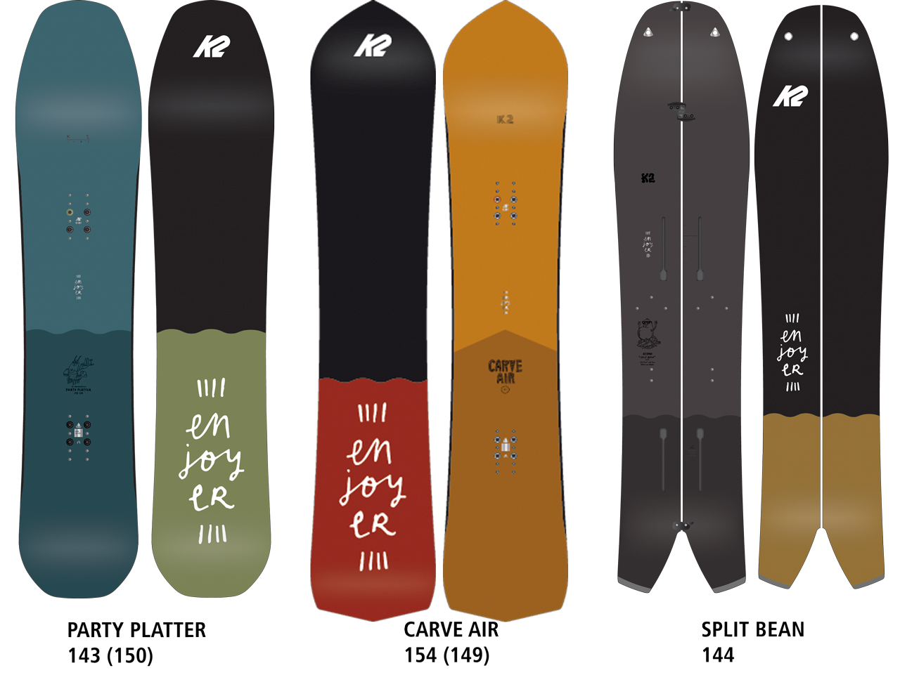 Party Platter, Carve Air und Split Bean aus der Enjoyers-Kollektion von K2 Snowboarding