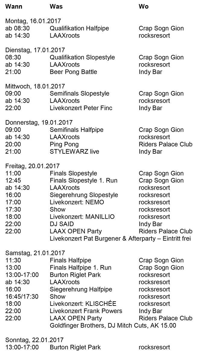 Das Programm der Laax Open - Stand. 13. Januar 2017