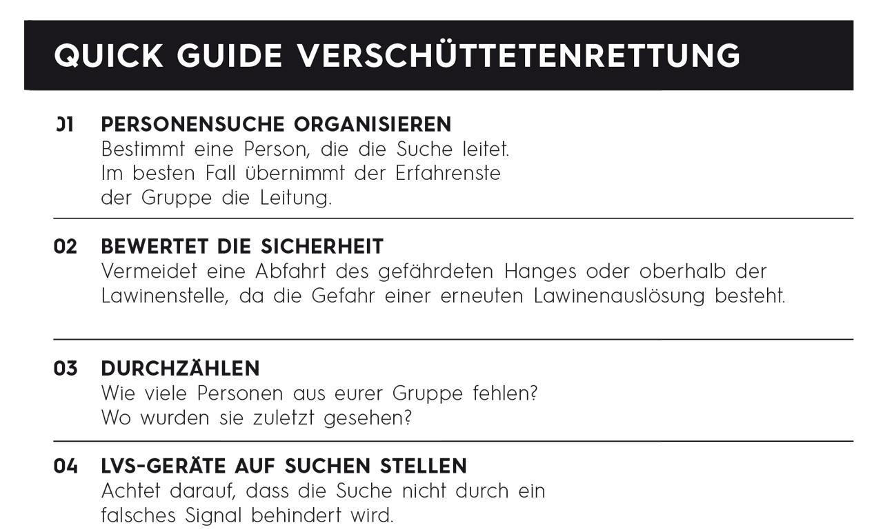 Lawinenkunde - Quick Guide Verschüttetenrettung