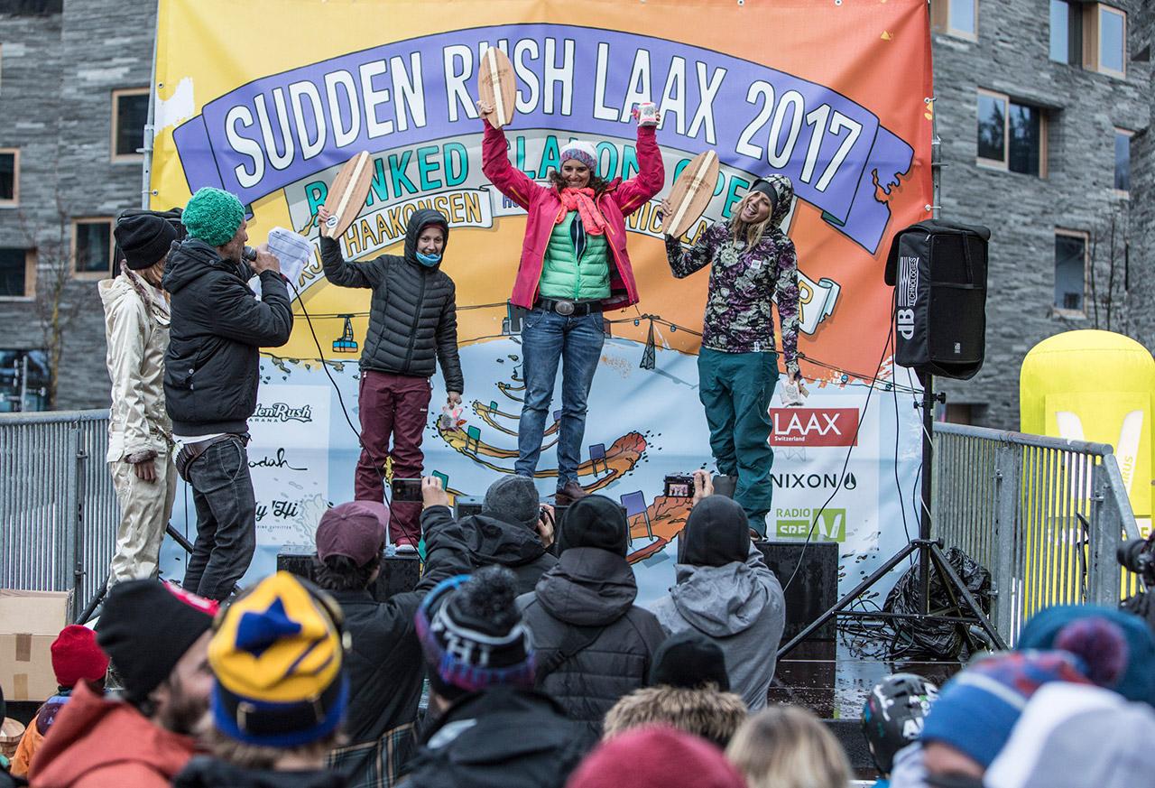 Die Sieger-Frauen des Sudden Rush | © LAAX, Philipp Ruggli