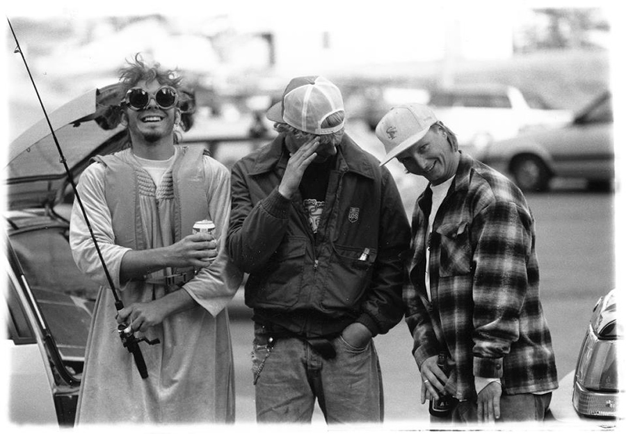 Simon Woodstock, Mike Ranquet, Noah Salasnek; Donner Ski Ranch, 1994 | © Friends and Fans of Noah Salasnek