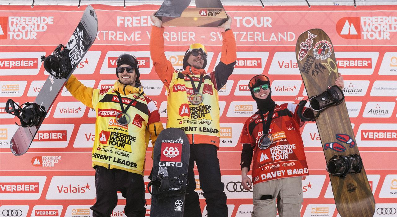 Thomas Feurstein, Sammy Luebke, Davey Baird |©D.Daher/Freeride World Tour