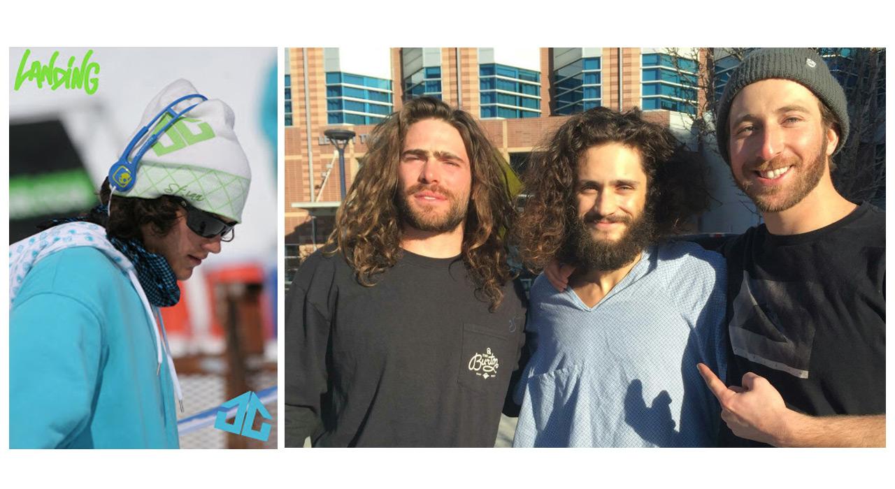 links: Kaum zu erkennen, aber Nick gab's auch mal ohne Bart; rechts: Danny Davis, Nick Russell & Jack Mitrani |©Landing Headwear, Snowboarder Mag