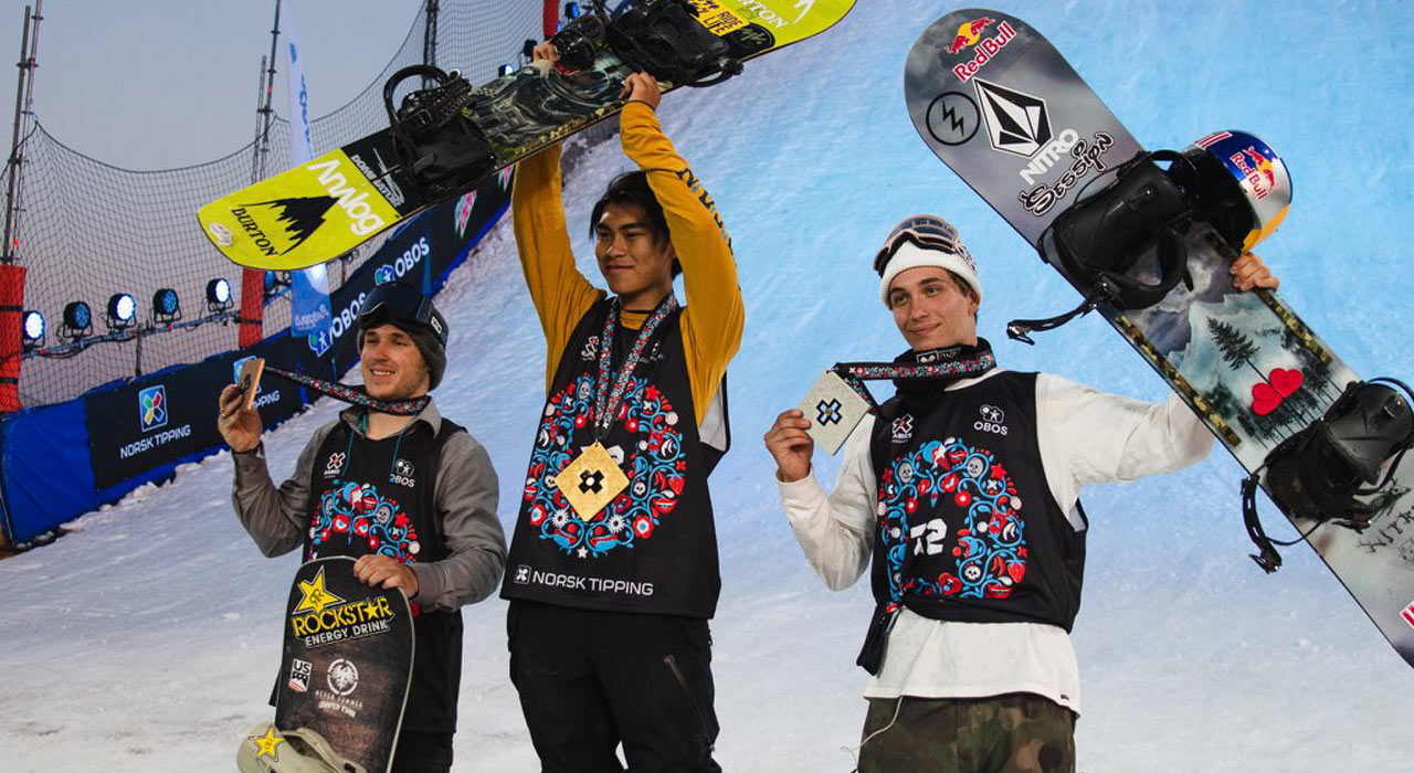 von links: Chris Corning, Takeru Otsuka, Marcus Kleveland | © X Games/Brett Wilhelm