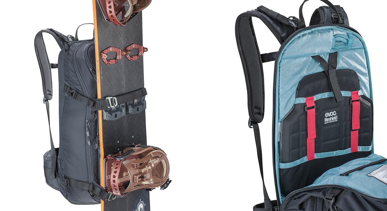 Snowboard-Halterung; Rückenprotektor |©Evoc