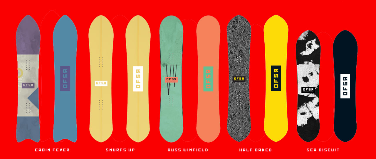 Die Kollektion der Offshore Snowboard Shapes |©Offshore