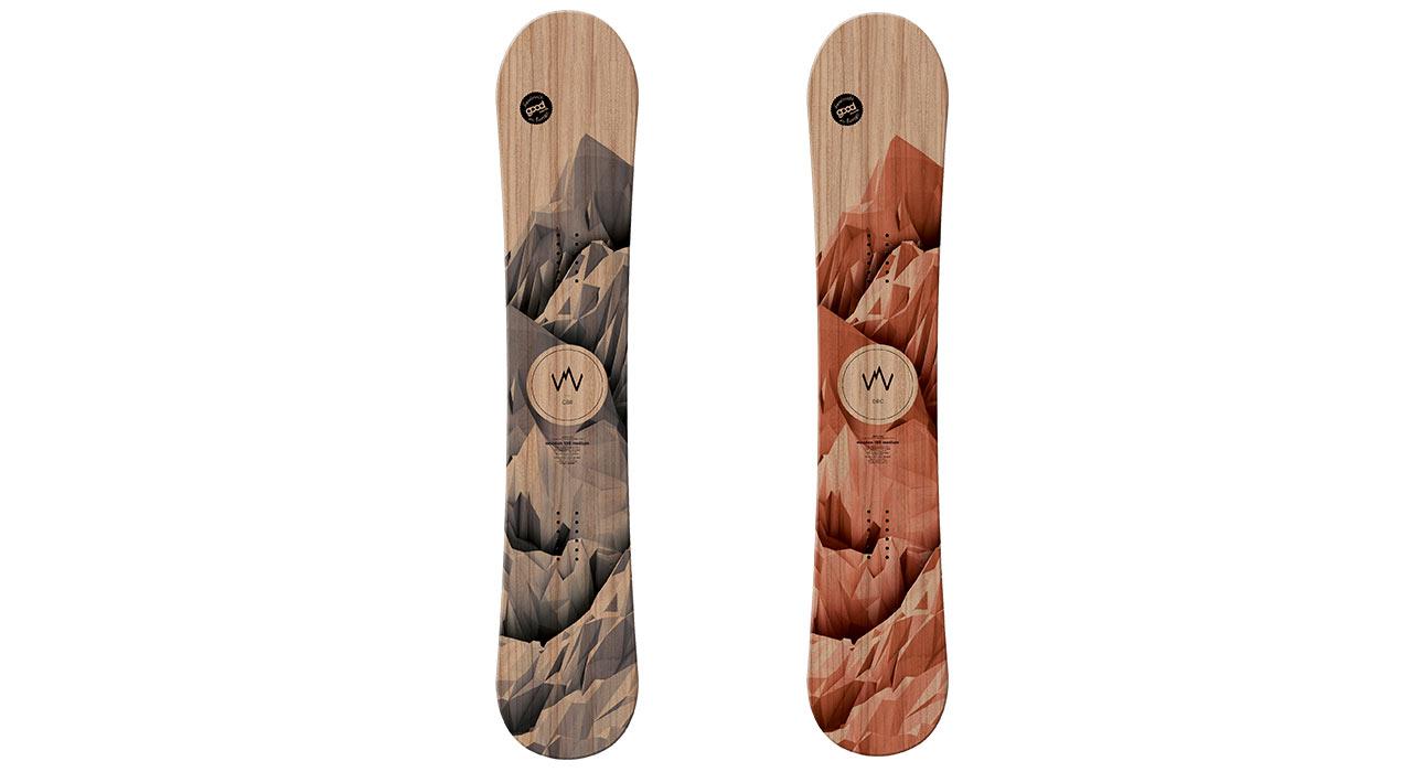 Das Wooden als Camber (links) und als Double Rocker (rechts) |©goodboards