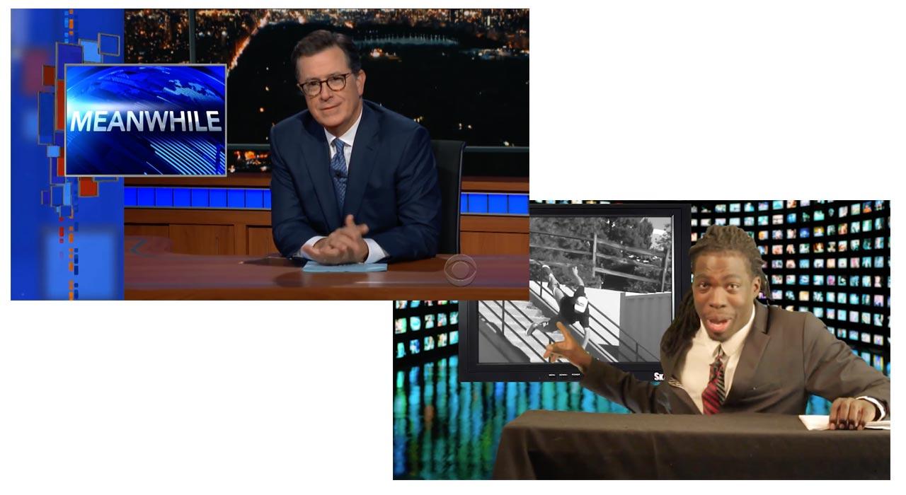 """Zwei Shows, die Stan's """"Last Resort"""" beeinflusst haben: Die """"Late Show"""" mit Stephen Colbert und Gary Rogers' """"Skateline"""" auf Thrasher"""