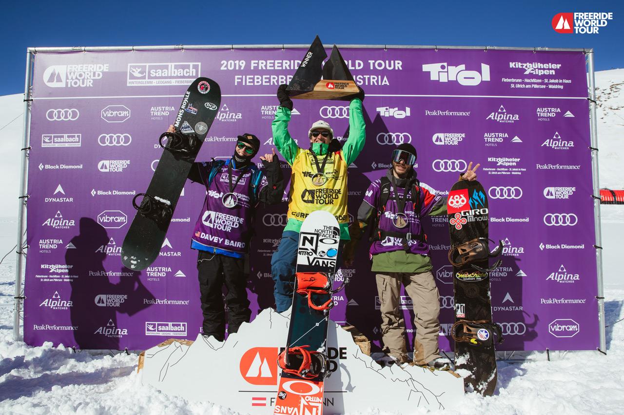 Platz 2: Davey Baird, USA; Platz 1: Victor de le Rue, FRA; Platz 3: Sammy Luebke, USA | © J. Bernard