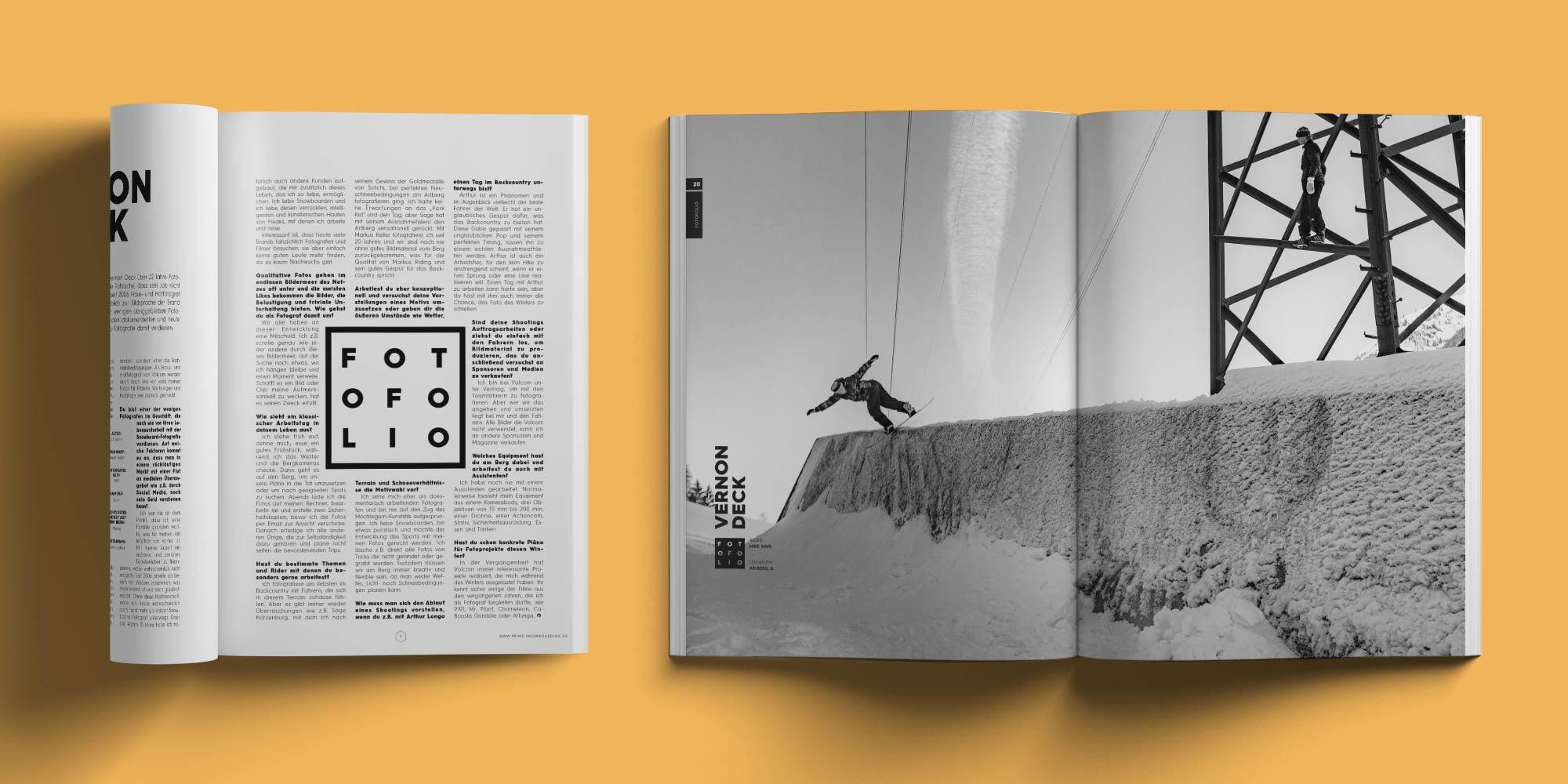 PRIME Snowboarding Printausgabe 20 - Vernon Deck Fotofolio