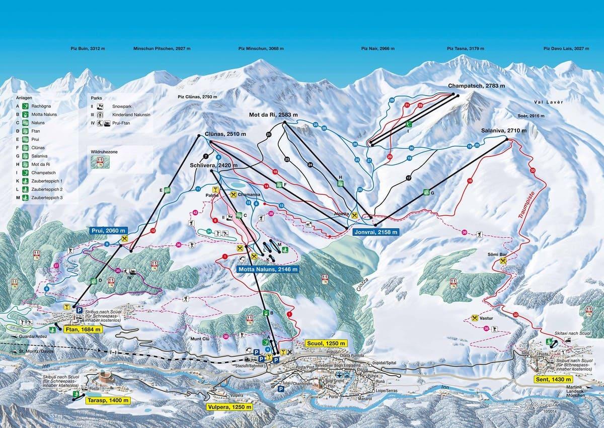 Pistenplan Scuol - Die besten Skigebiete der Alpen