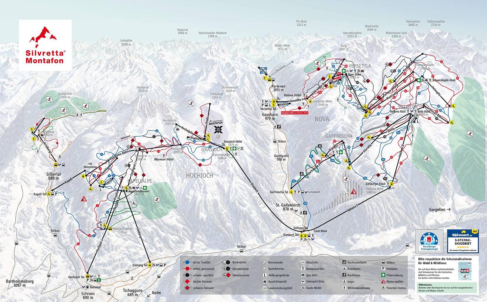 Pistenplan Silvretta Montafon |Die besten Skigebiete der Alpen