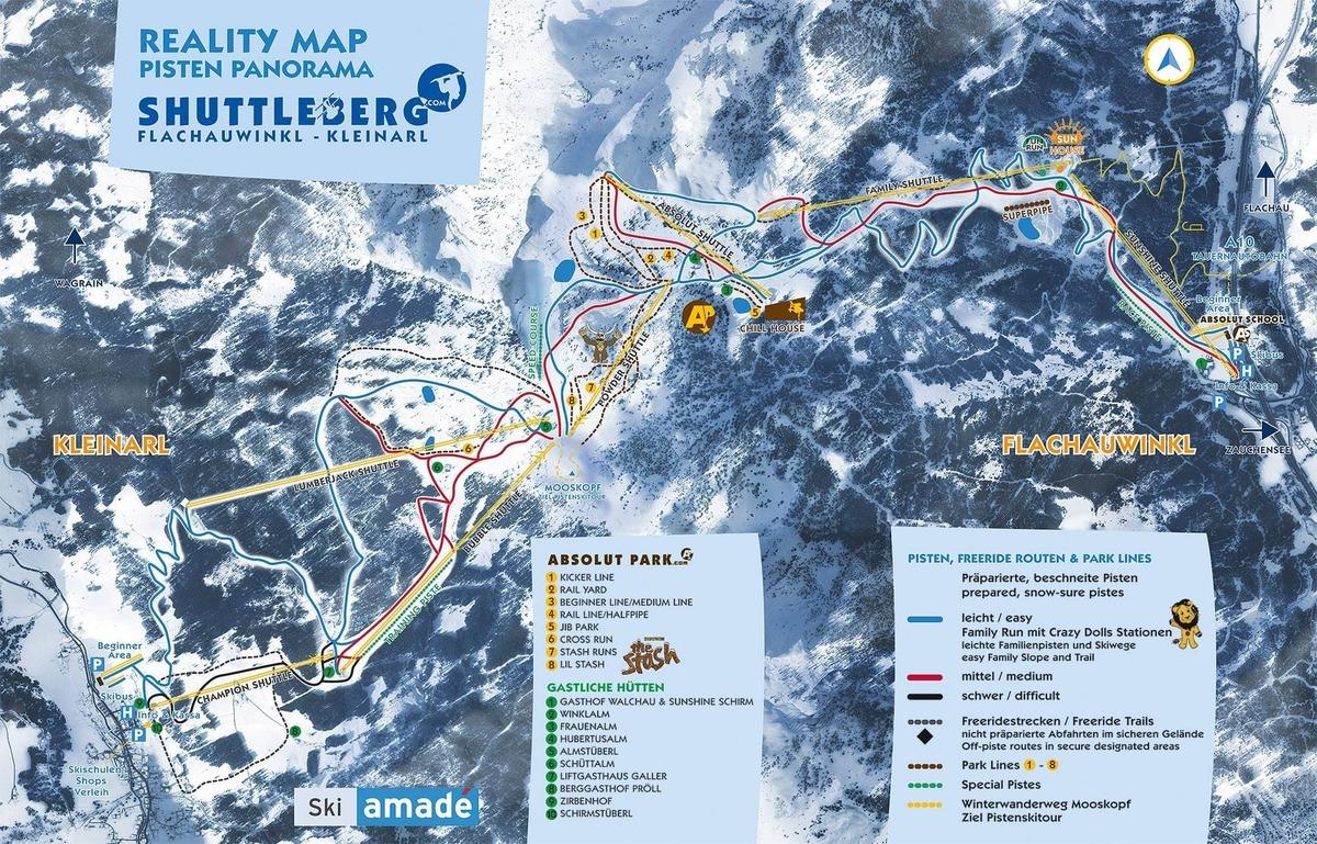 Die besten Skigebiete der Alpen | Pistenplan Flachauwinkl